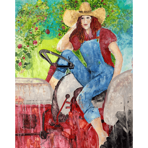 Farmers Daughter - Cowgirl Attitude Oil Painting