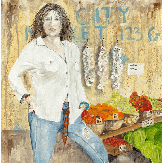 Market Manager - Cowgirl Attitude Oil Painting