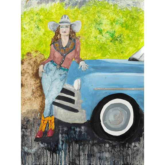 New Car - Cowgirl Attitude Oil Painting