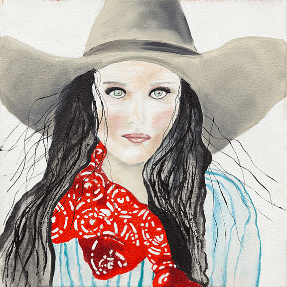"""Red Bandana"" - Cowgirl Painting by Ray Darnell"