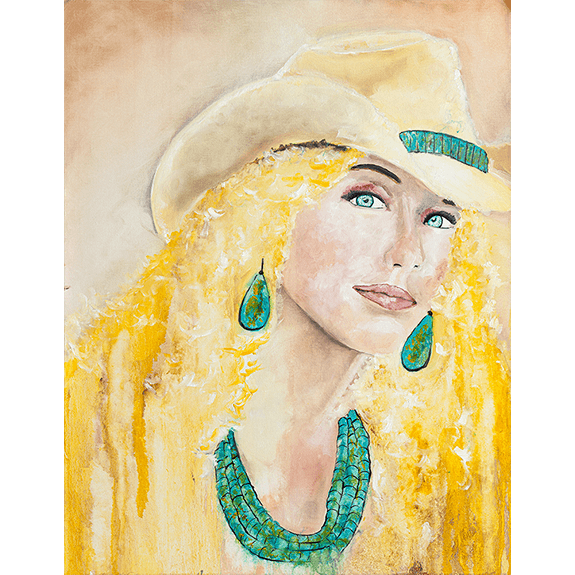 """Sunshine"" - Cowgirl Painting by Ray Darnell"